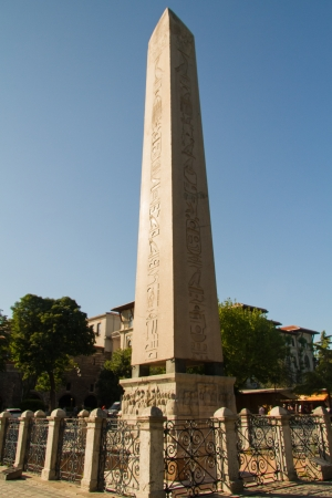 Obelisk of Theodosius at Sultanahmet Square in the modern city of Istanbul, Turkey