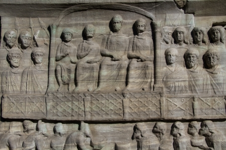 Bas-reliefs on the marble pedestal of Theodosius Obelisk at Sultanahmet Square in the modern city of Istanbul, Turkey