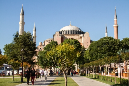 View of Hagia Sophia from Sultanahmet Square in Istanbul, Turkey