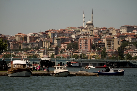 View of the Golden Horn from Pierre Loti hill in Istanbul, Turkey