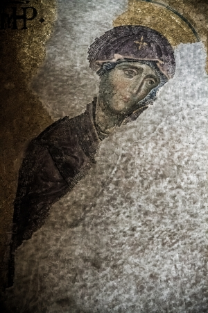 iconography: Restored religious mosaics of Hagia Sofia which was built as a church by Byzantins Stock Photo