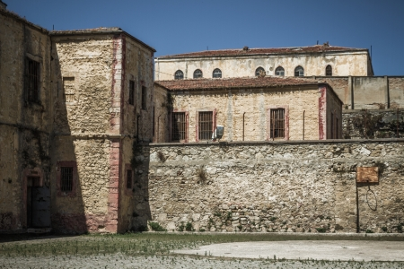 Walls of an abandoned historic prison in Sinop Turkey which is open now for visitors Stok Fotoğraf