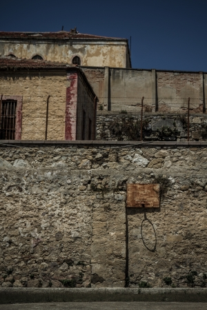 Walls of an abandoned historic prison in Sinop Turkey which is open now for visitors photo