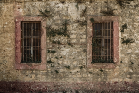 Window of an abandoned historic prison in Sinop Turkey which is open now for visitors