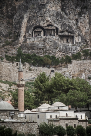 Mountain scene of a traditional mosque in Amasya, Turkey Banco de Imagens