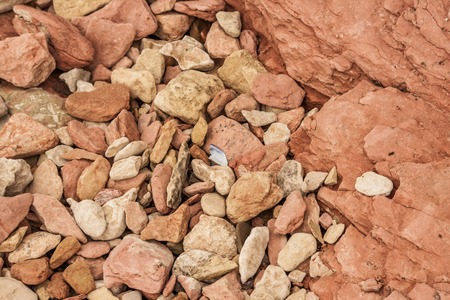 slumped: View of slumped pebbles on the bottom of a rock layers