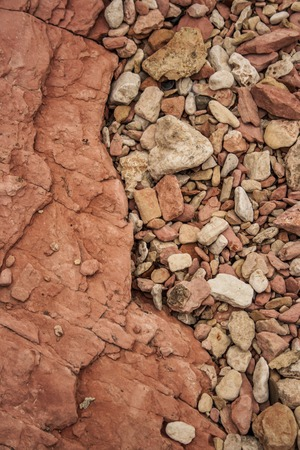 View of slumped pebbles on the bottom of a rock  layers photo