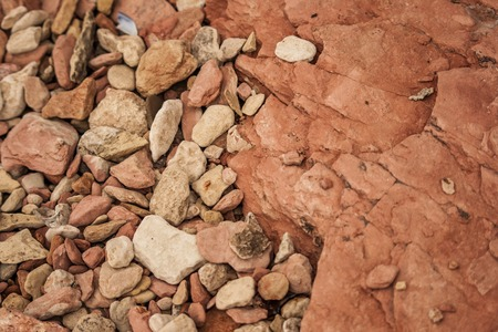 View of slumped pebbles on the bottom of a rock  layers