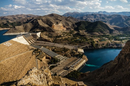 hydroelectric energy: Views from Keban, an old hydroelectric energy dam near Elazig,Turkey Stock Photo