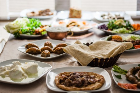 Traditional foods like mumbar, buryan, kebab, baklava from Turkish cuisine