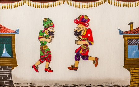 popularized: Hacivat and Karagoz from traditional Turkish shadow play, popularized during the Ottoman period Stock Photo