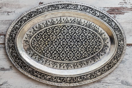 silver tray: Turkish traditional silver tray on white wooden table Stock Photo