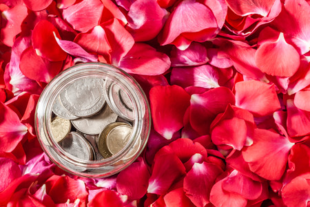 different countries: Old coins from different countries with a background of roses