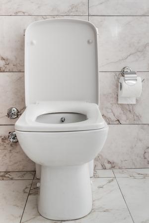 inodoro: Inodoro blanco en un cuarto de baño con mármol como la cerámica