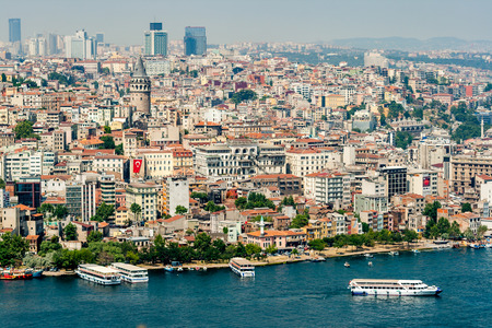 14th century: Cityscape of Galata Tower in Istanbul Turkey, made by Genoese in 14th century