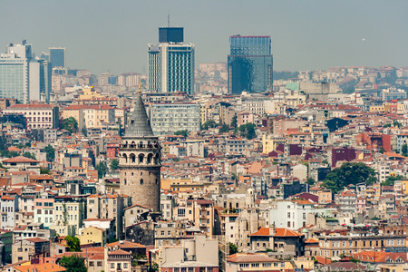 genoese: Cityscape of Galata Tower in Istanbul Turkey, made by Genoese in 14th century