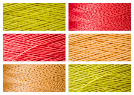 close ups: Collage from close ups of synthetic colorful threads