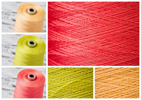 close ups: Collage from spools and close ups of synthetic colorful threads