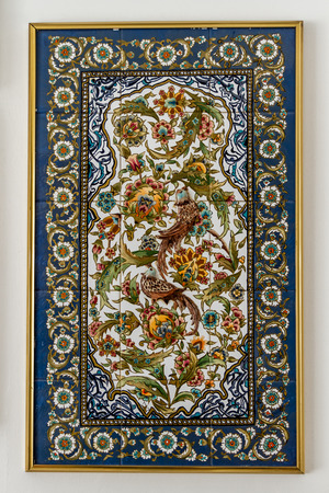 pay wall: BODRUM, TURKEY - AUGUST 29, 2015: Turkish artistic wall tile from local artist Nagihan Ozsarsilmaz Pay on August 29, 2015 in Bodrum