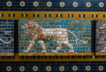archeology: ISTANBUL, TURKEY - JUNE 11, 2013: Lion on Babylonian mosaic, fragment of the Ishtar Gate in Istanbul Archeology Museum