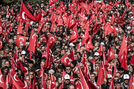 ANKARA, TURKEY - MARCH 15, 2014:  Crowd in Anitkabir, Mausoleum of Mustafa Kemal Ataturk, the founder of the Republic of Turkey Editorial