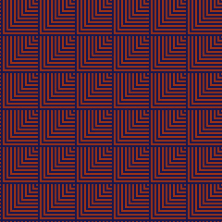 blue stripe: Seamless red and dark blue abstract pattern created from square intersections