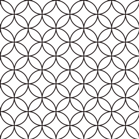 Seamless abstract intersecting and repeating modern black and white circles