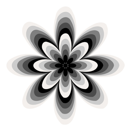 circle flower: Black and White abstract flower pattern created from circle and ellipses