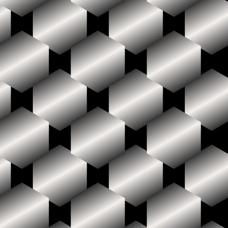 shiny metal: Seamless abstract metallic pattern background from hexagons Illustration