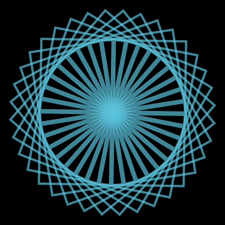 spirograph: Abstract spirograph concentric circle pattern from intersecting shapes on black background