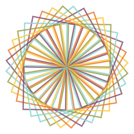 oscillation: Abstract spirograph concentric circle pattern from intersecting shapes on white background