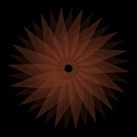 oscillation: Abstract spirograph concentric circle pattern from intersecting shapes on black background