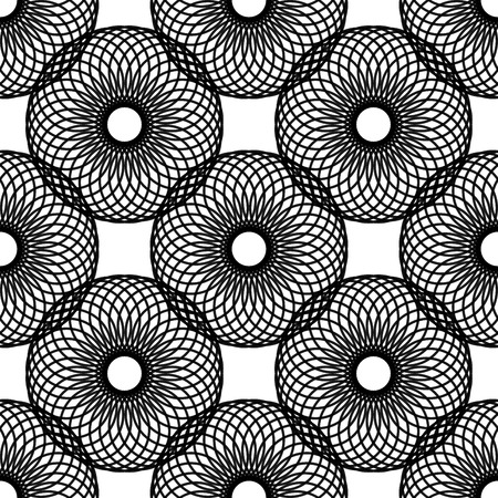 反復的な円から作成されたシームレスな黒と白の抽象的なモダンなパターン
