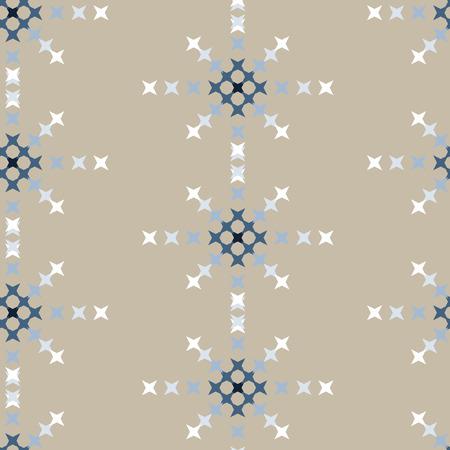 punto de cruz: patrón de bordado de punto de cruz abstracta sin fisuras en el fondo de crema Vectores