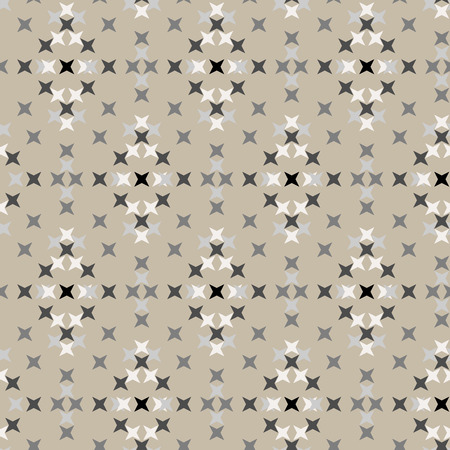 punto de cruz: Seamless abstract cross-stitch embroidery pattern on cream background