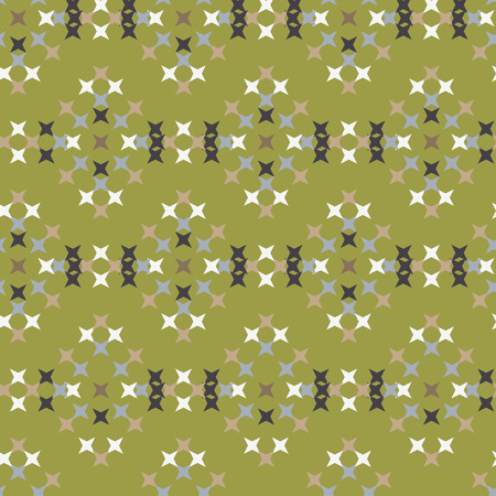 punto de cruz: Seamless abstract cross-stitch embroidery pattern on green background