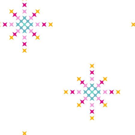 punto de cruz: Seamless abstract cross-stitch embroidery pattern on white background