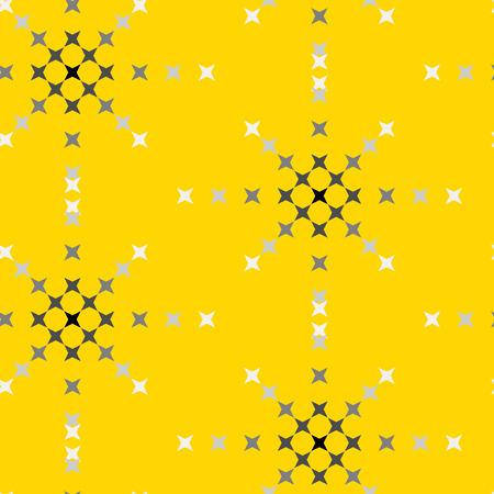 punto de cruz: patrón de punto de cruz bordado abstracto transparente sobre fondo amarillo Vectores