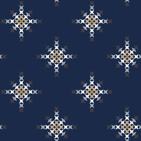 punto de cruz: Seamless abstract cross-stitch embroidery pattern on dark blue background Vectores
