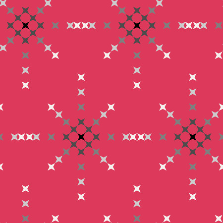 punto de cruz: Seamless abstract cross-stitch embroidery pattern on red background