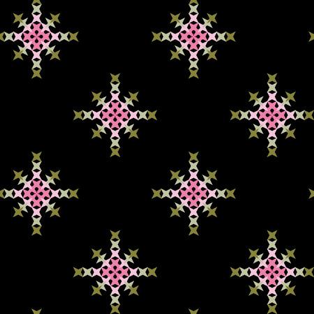punto de cruz: patr�n de punto de cruz bordado abstracto sin fisuras en el fondo negro Vectores