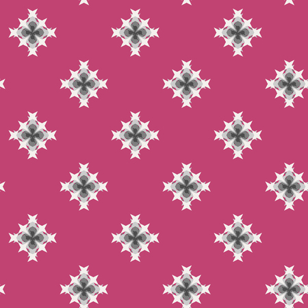 punto de cruz: Seamless abstract cross-stitch embroidery pattern on pink background Vectores