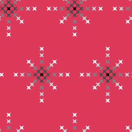 punto de cruz: patr�n de punto de cruz bordado abstracto transparente sobre fondo rojo Vectores