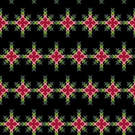 punto de cruz: patrón de punto de cruz bordado abstracto sin fisuras en el fondo negro Vectores