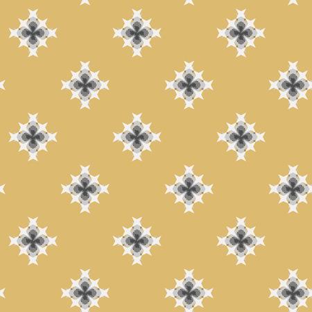 punto de cruz: patr�n de punto de cruz bordado abstracto transparente sobre fondo amarillo Vectores
