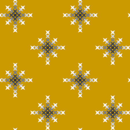 punto de cruz: Seamless abstract cross-stitch embroidery pattern on yellow background Vectores