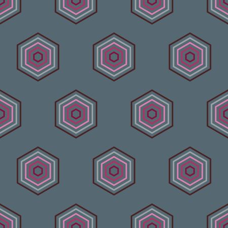 iteration: Seamless geometric abstract pattern from colorful hexagons Illustration