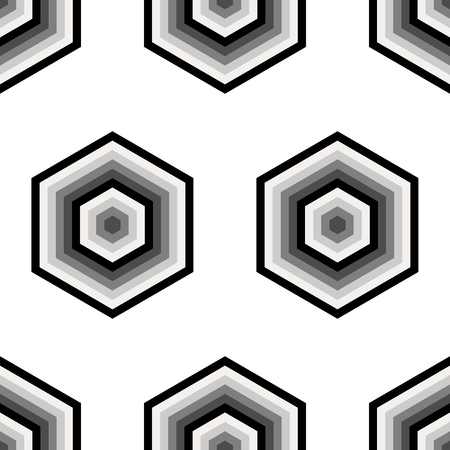 grey scale: Seamless black and white geometric abstract pattern from hexagons