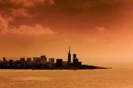 georgian: Sunset over the city Batumi, Georgian Republic Stock Photo