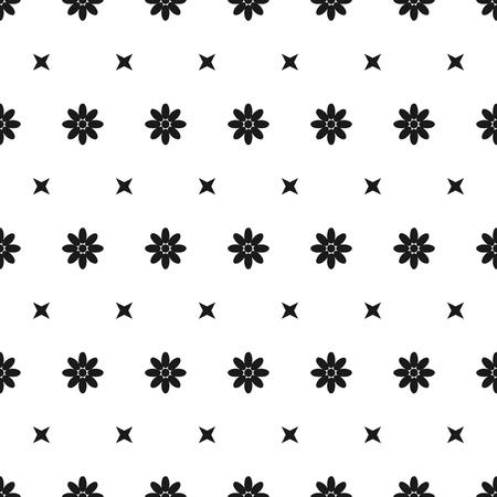 patrones de flores: Resumen patrón de flores en blanco y negro sin fisuras Vectores